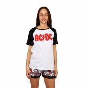 AC/DC fehér póló barna nadrággal női pizsama