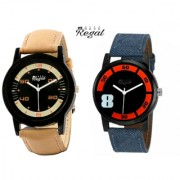 Mark Regal Denim And Brown Leather Strap Men's WAtches Combo Of 2