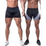 Jed North [2 Pack] Blaze Bodybuilding Compression Shorts Black & Grey TANK025