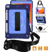 [Built-in Hand Holder Strap] 360° Swivel Kickstand PC + Silicone Combo Tablet Shell with Shoulder Strap for iPad 10.2 (2019) - Navy Blue/Blue