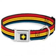 Buckle Down Collar para Perro con Hebilla de cinturón de Seguridad Capitán Marvel, Rayas Rojas, Doradas, Azules, de 16 a 23 Pulgadas de Ancho