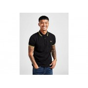 Fred Perry Slim Twin Tipped Short Sleeve Polo Shirt Heren - Black/Yellow - Heren
