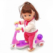Doll on a Scooter. The Brown Haired Doll Turns Her Head to Look Around and Moves Her Foot Powering the Scooter to the Sound of Musical and Colorful Lights.