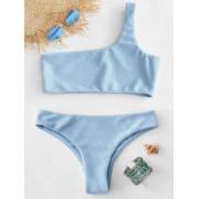 Zaful Bikini Texturé à Une Epaule Bleu Léger S