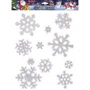 Merkloos Kerst raamstickers/raamdecoratie sneeuwvlokken plaatjes 11 stuks