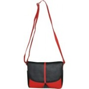 Style 98 Style 98 Black and Red Leather Shoulder Bag For Girls and Women Waterproof Sling Bag(Black:Red, 5 inch)