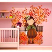 TenStickers Sticker kind meisje herfst bomen
