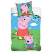 Lenjerie de pat din bumbac, pentru copii, Purceluș Peppa și George, 140 x 200 cm, 70 x 90 cm