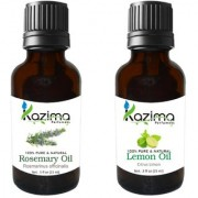 KAZIMA Combo Set of Rosemary Oil and lemon Essential Oil ( Each 15ml ) Ideal for use in Hair loss Treatment Promotes Hair Growth Moisturizes Skin Health Benefit Massage