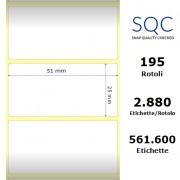 Etichette SQC - Carta termica (bobina), formato 51 x 25