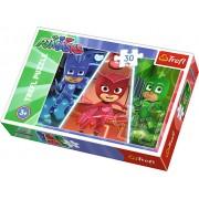 Puzzle clasic copii - Echipa curajoasa Eroi in pijamale 30 piese