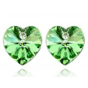 Swarovski kristályos fülbevaló Zöld Szívben pici szív