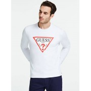 Guess Sweater Driehoeklogo Voorkant - Wit - Size: Extra Large
