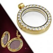 Arany színű, kör alakú nyitható medál, cirkónia kristállyal
