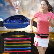 Multifunctional Outdoor Sports Waterproof High Stretch Faux Leather Fabric Single Waist Bag with Night Reflective Strip Random Color Delivery -HC8887