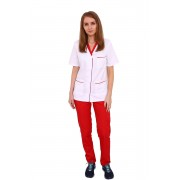 Costum medical format din bluza alb cu rosu si pantaloni rosii cu elastic
