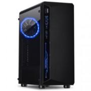 Кутия InterTech Saphir C-3, ATX, μATX, ITX, 1x USB 3.0, RGB, черна, без захранване