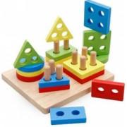 Joc Montessori din lemn Coloane Sortatoare Invata Formele Si Culorile Patrat - Krista and reg