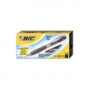Bu3 Retractable Gel Roller Ball Pen, Medium, .7mm, Black, Dozen