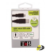 Tnb cbmusb03bk micro usb kabel 30cm crni
