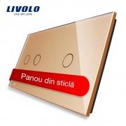 Panou intrerupator dublu + simplu cu touch Livolo din sticla, auriu