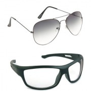 Magjons Fashion Combo Of Grey Aviator And Night Driving Sunglasses