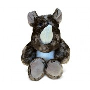 Puzzled Sitting Brown Rhino Super - Soft Stuffed Plush Cuddly Animal Toy / Wild Animals Theme 5.5 Inch (5382)