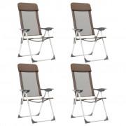 vidaXL Cadeiras de campismo dobráveis 4 pcs alumínio castanho