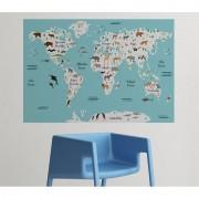 MagisWall zidna naljepnica Karta svijeta životinje mala