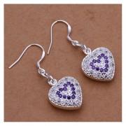 EY Nueva Joyería Pendientes De La Forma Del Corazón Con Encanto Diamantes Púrpuras Chapado Pendientes Púrpura Y Plata