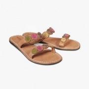 laidbacklondon platte etno-sandaaltjes, 36 - ecru/bordeaux/lindegroen