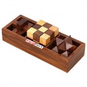 BuzyKart 3-In-One 3D Wooden Puzzle Games Set Brain Teaser