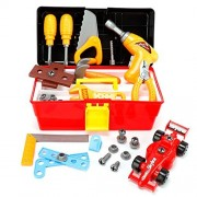 Mo&Ra Kids Toy Tool Box Set with Electronic Cordless Drill and 44 Pieces Pretend Play Construction Tools DIY F1 Car for boys and girls Toolbox