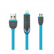 Cablu De Date 2 In 1 Iphone 5/6 + Micro Usb Albastru pt Telefon Tableta