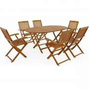 Meble Ogrodowe Drewniane Zestaw 1 Stół + 6 Krzeseł