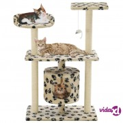 vidaXL Penjalica za mačke sa stupovima za grebanje od sisala 95 cm bež s uzorkom šapa