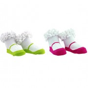 Socks - Tippy Toes - Mary Janes - Pink/Lime