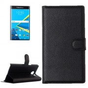 For Blackberry Priv Litchi Texture Horizontal Flip Leather Case with Magnetic Buckle & Holder & Card Slots & Wallet(Black)