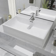 vidaXL Chiuvetă cu orificiu robinet, ceramică 60,5x42,5x14,5 cm, alb