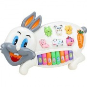 FunnyTool rabbit Musical Piano with 3 Modes Animal Sounds Flashing Lights Wonderful Music (Multicolor)
