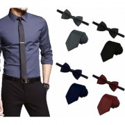 Men's Tie Combo of 4 Classic Slim Neckties with Bow Ties ColourBlack Grey Navy Blue Maroon Casual Style Fashion