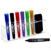 Clear Acrylic Wall Mountable 6 Slot Dry Erase Marker & Eraser Holder Organizer Rack - MyGift