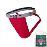 "MM Original Edition Bike Style Adult Supporter 1"" Waistband Jock Strap Underwear Red/Grey"
