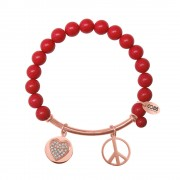 CO88 Armband met bedels bar/hart/peace rosé/rood 8CB-50007