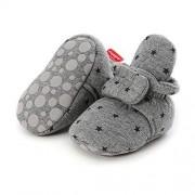 Tuoting Pantuflas de forro polar para bebés y niños y niñas, con parte inferior suave y cálida, calcetines de dibujos animados para recién nacidos, Gris, 12-18 Months Toddler