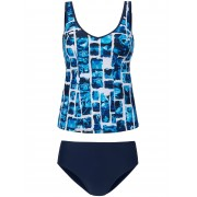 Sunmarin Dames Tankini met grafische print Van Sunmarin blauw
