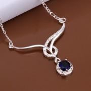 Colier elegant placat argint cu cristal albastru