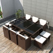 vidaXL 11 Piece Outdoor Dining Set with Cushions Poly Rattan Brown