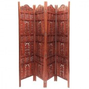 Onlineshoppee Brown Sheesham Wood Partition Screen Room Divider In 4 Panel Size-lxbxh-80x1x72 Inch