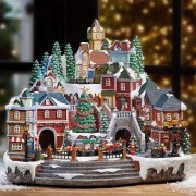 Animated Winter Christmas Village Scene with Rotating Train Lights and Music